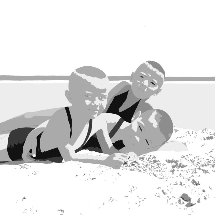 Digitally manipulated photo of dad with his brothers on the beach - end result