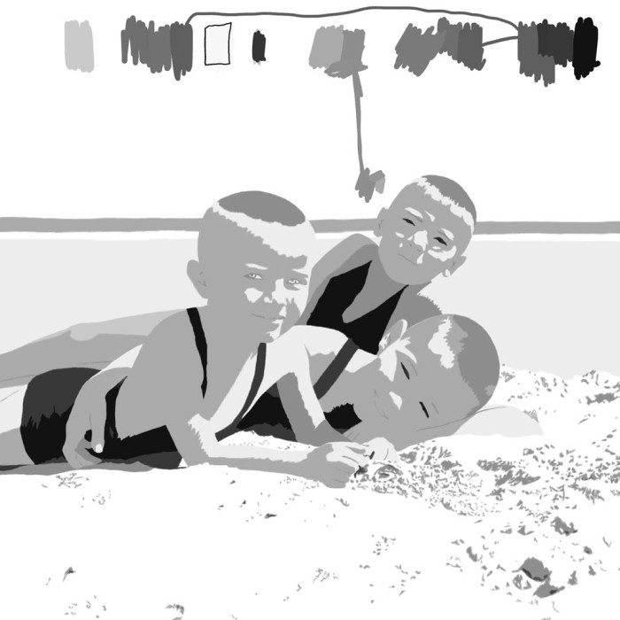 Digitally manipulated photo of dad with his brothers on the beach