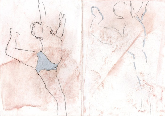 Two sketchy drawings of male dancer on stained paper