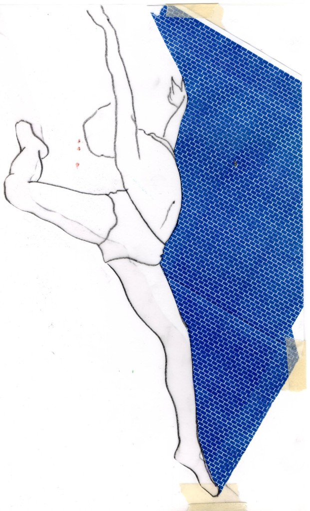 Scan of line drawing of male dancer collaged with envelope.