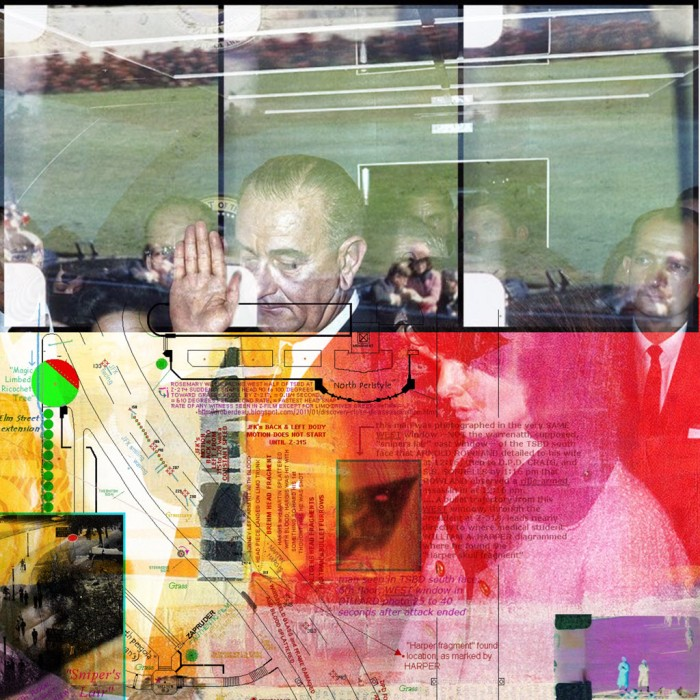 Digital collage using an image of Lyndon B Johnson being sworn in as President