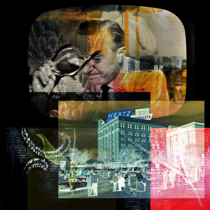 Digital collage using an image of Walter Cronkite