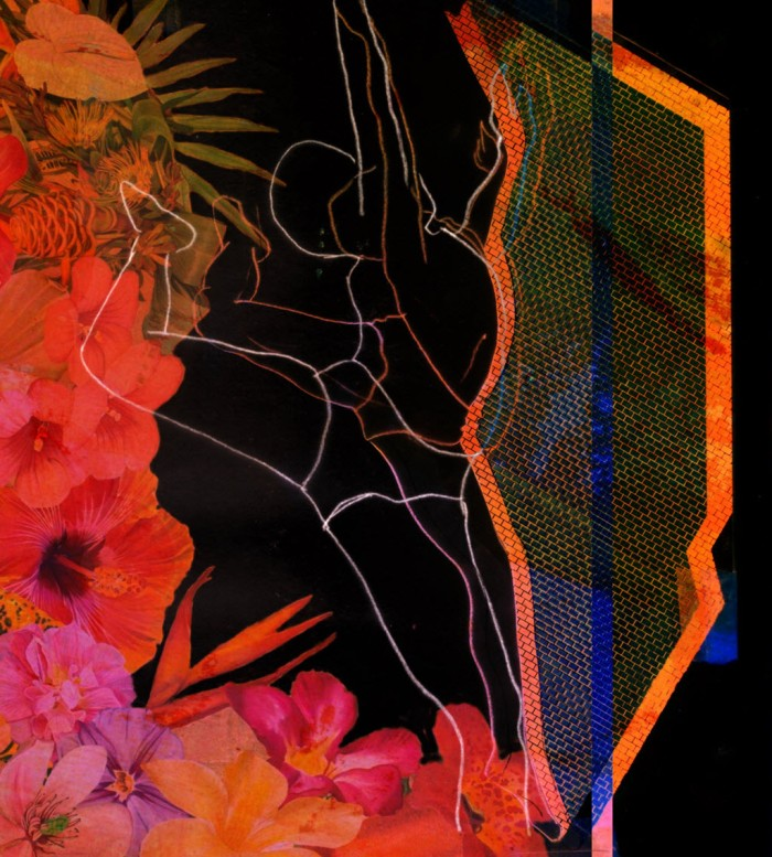 Digital manipulation of scan of dancer and envelope collage.