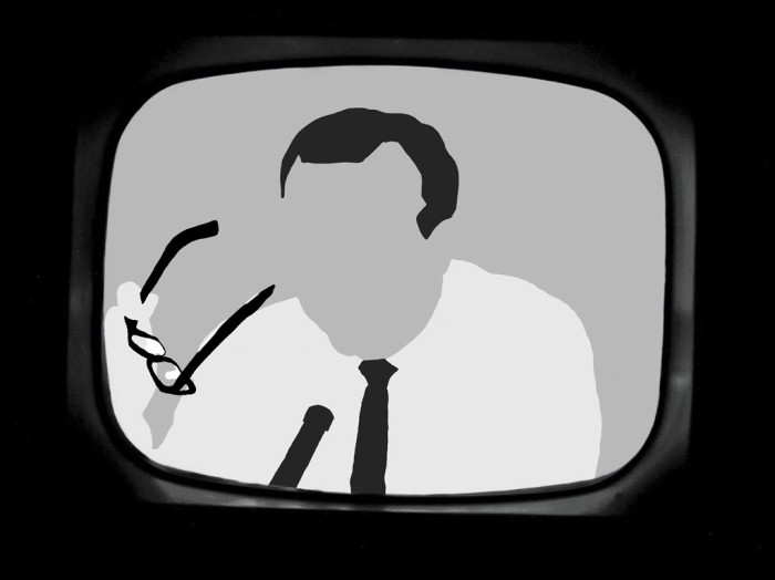 Digital image of Walter Cronkite announcing Kennedy's death rendered in 3 values - black, white and grey.