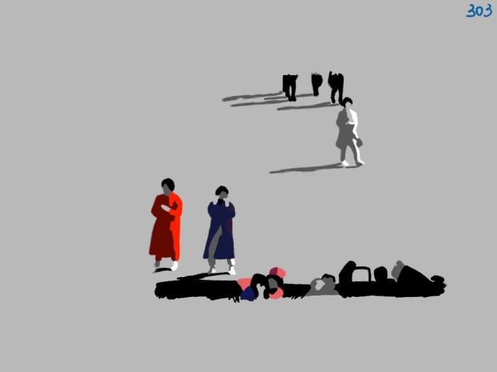 Digital image of Zapruder footage frame 303 (no frame) rendered in 4 monochrome values.
