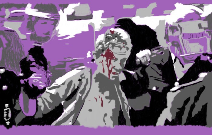 Digitally manipulated still from footage of the Miners' Strike 1984-5.