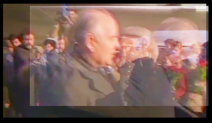 Digitally manipulated image of Mikhail Gorbachev and Erich Honecker using an image stabilising technique.