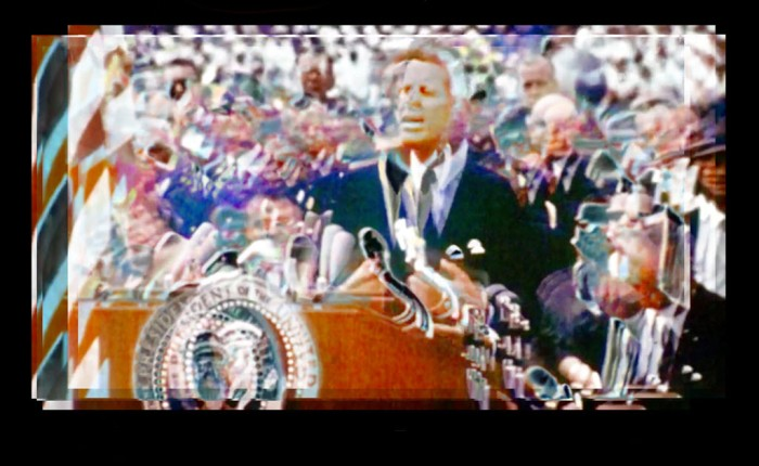 Digitally manipulated image of Kennedy giving the 'We choose to go to the moon' speech using an image stabilising technique.