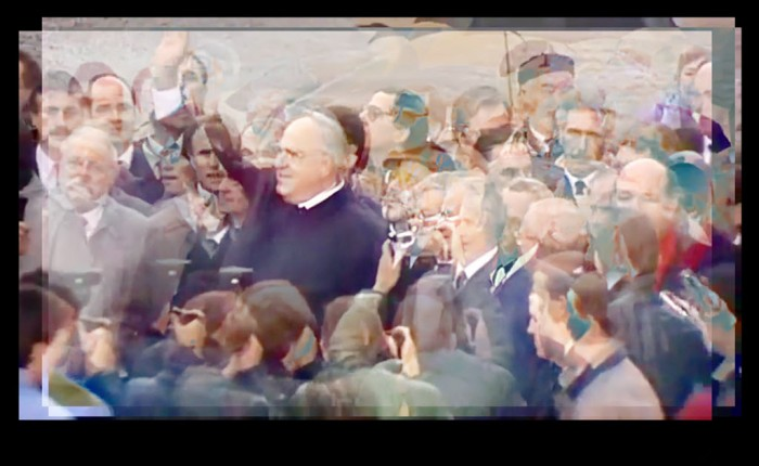 Digitally manipulated image of Helmut Kohl and Hans Modrow at the Berlin Wall using an image stabilising technique.
