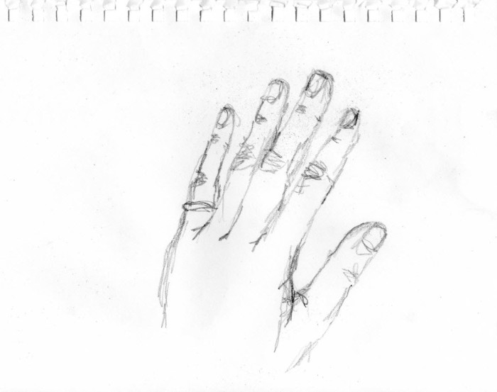 Sketch of left hand done with right hand