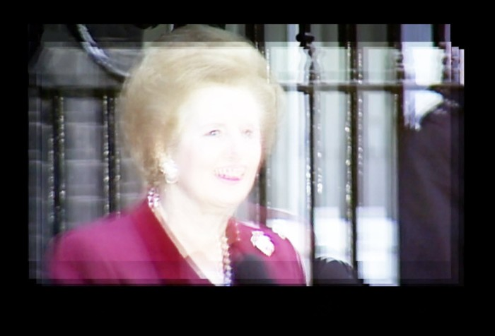 Digitally manipulated image of Mrs Thatcher leaving office