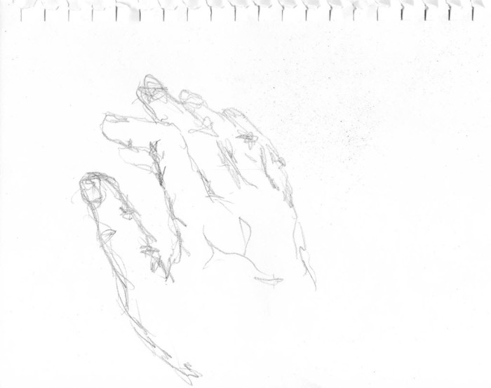 Sketch of right hand done with left hand