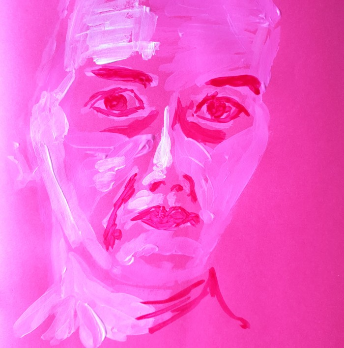 Self-portrait on pink paper