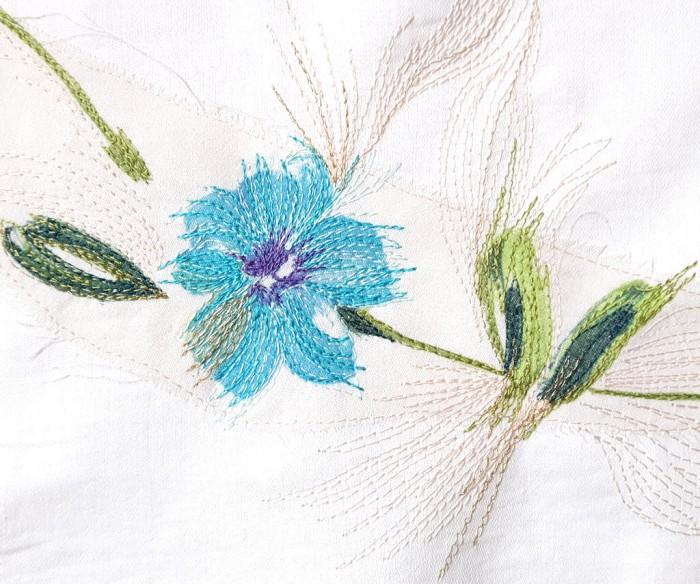Detail of silk flower scarf scrap with free machine embroidered stitch