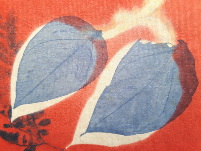 Sublimation print of two big blue leaves