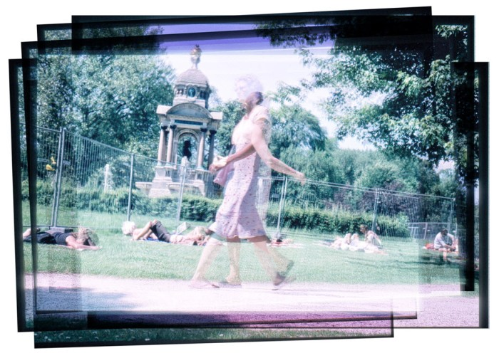 Digitally manipulated image of people walking in a park